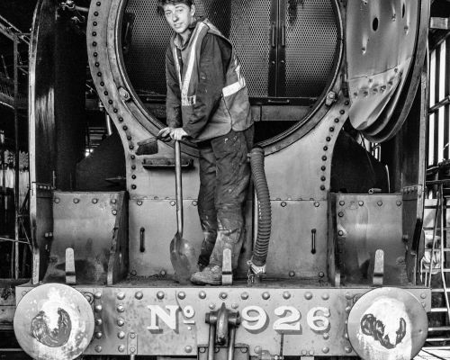 Preparing Engine 926 at Goathland (Black and white)