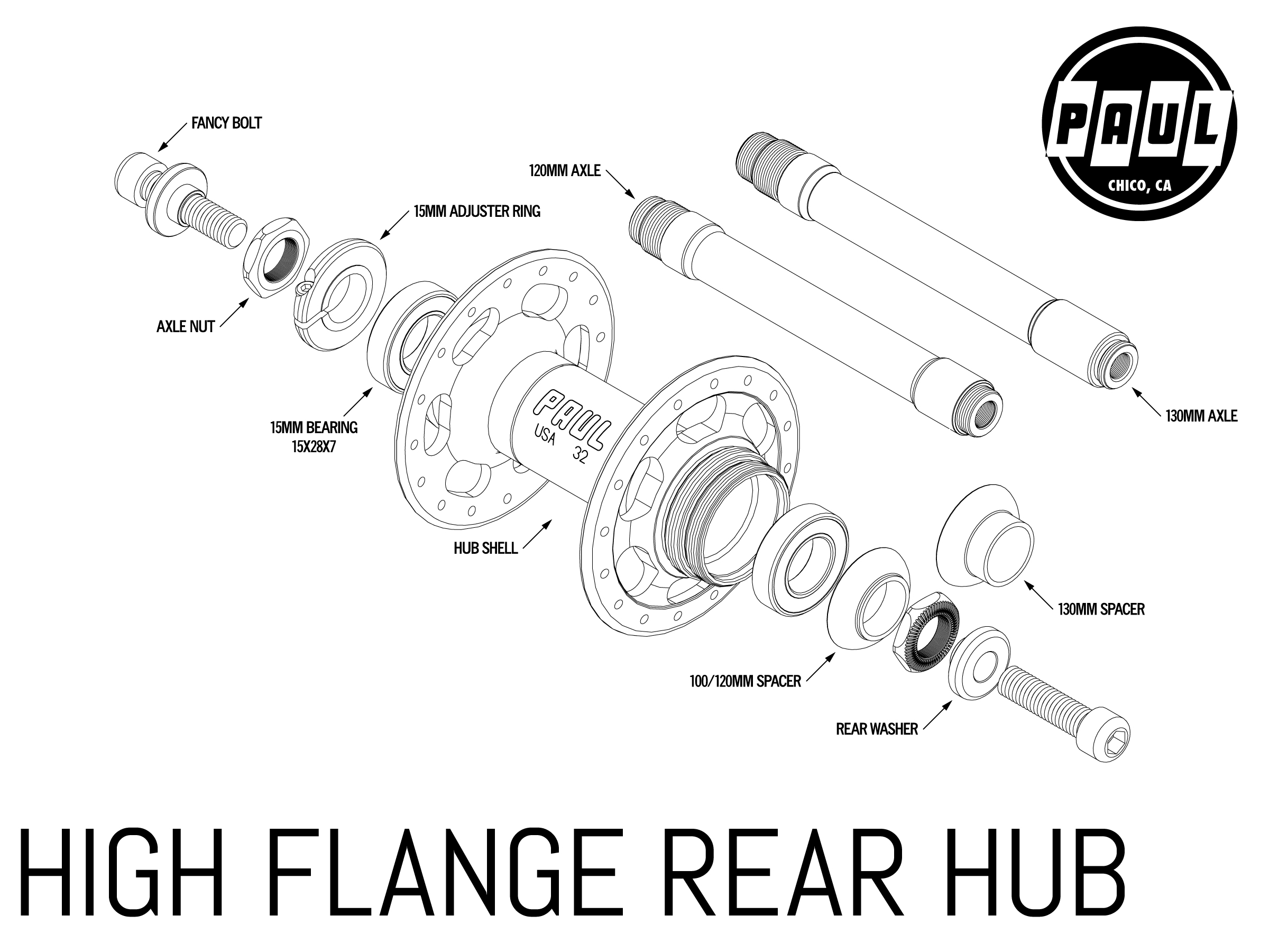 High Flange Rear Paul Component Engineering