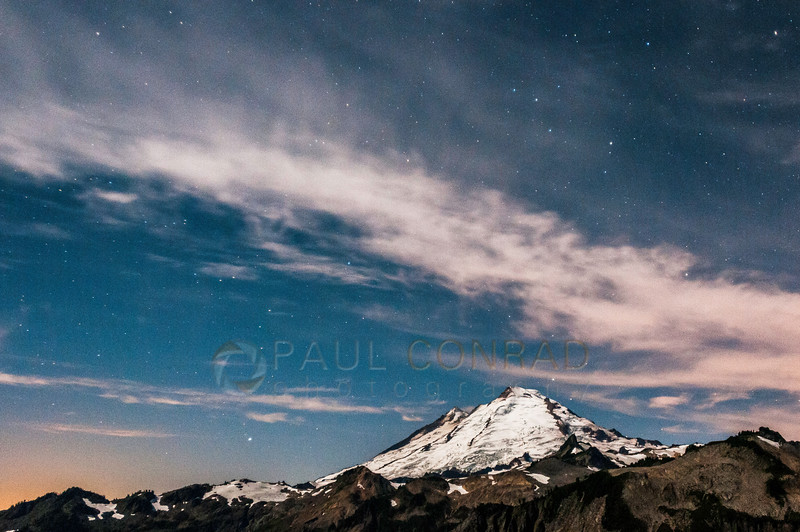 © Paul Conrad/Pablo Conrad Photography - Mt. Baker lit by a half-Moon  at Artist Point in the Mt. Baker-Snoqualime National Forest in western Whatcom County, east of Bellingham, Wash.
