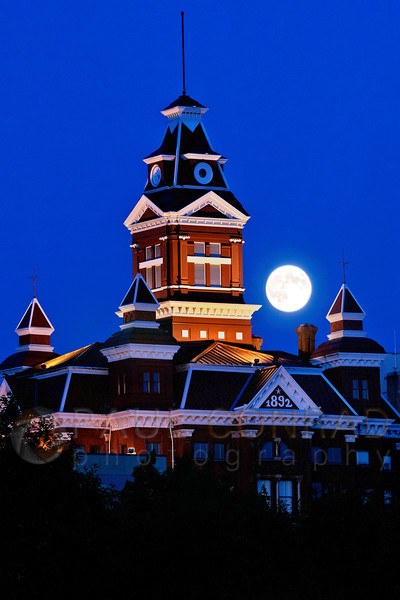 The full super perigee Moon rises over the Whatcom Museum in Bellingham, Wash., on Monday evening July 22, 2012.  (© Paul Conrad/Paul Conrad Photography)  bellingham photographer, bellingham wedding photography,