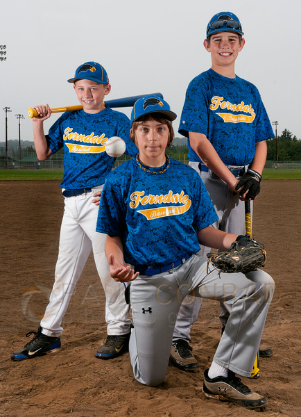 © Paul Conrad/The Bellingham Herald -(l to r) Evan Rehrberger, Greg Roberts, and Ethan Brooks,  of the Ferndale 11U All-Star baseball team during practice at Pioneer Park on Sunday afternoon July 6, 2014,  in Ferndale, Wash.. Catcher Greg Roberts, first baseman Ethan Brooks, and second baseman Evan Rehberger featured.