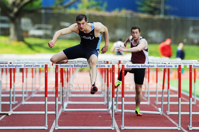 © Paul Conrad/The Bellingham Herald - Western Washington junior Logan Myers of Olympia, Wash.,  launches during the start of the Men's 110 meter hurdles the 2014 Ralph Vernacchia Track and Field Meet at Civic Field in Bellingham, Wash., on Saturday April 26, 2014. Meyers came in second with a time of 14.69 seconds for a new personal best.