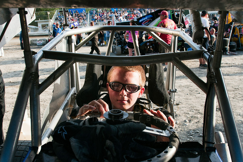 Spencer Constance, 16. of Snohomish, Wash., prepares for his time on the track during the 2014 Clay Cup Nationals at Deming Speedway in Everson, Wash.,  on Thursday evening July 17 , 2014. Constance races in the 600-Restricted divsion in the races.  The Clay Cup Nationals mini sprint  races continue through Saturday July 19th.
