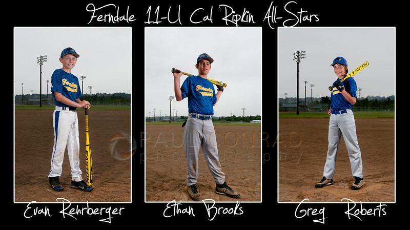 © Paul Conrad/The Bellingham Herald - Evan Rehrberger, Ethan Brooks, and Greg Roberts of the Ferndale 11-U Cal Ripkin All-Star team.