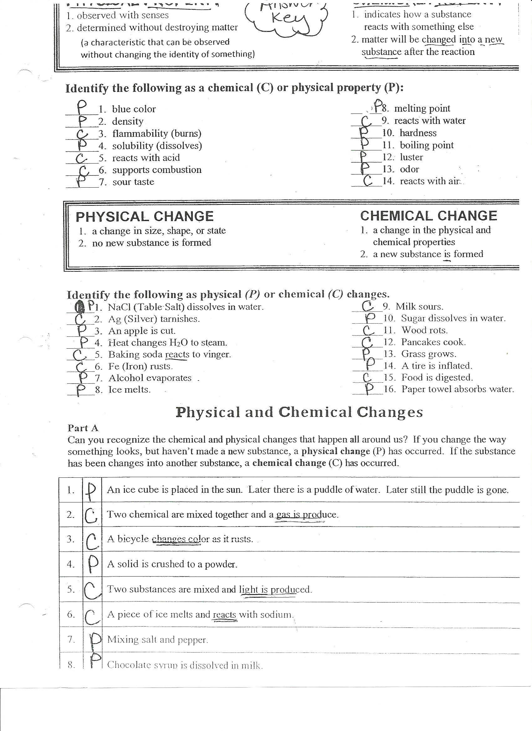 28 Identifying Physical And Chemical Changes Worksheet