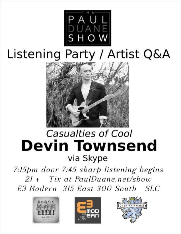 17 Sept 2015 Devin Townsend live show flier