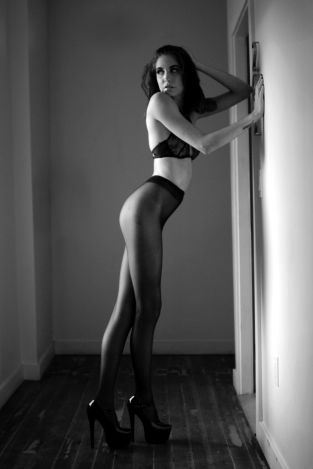 black and white model in pantyhose