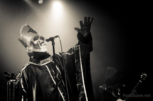 Papa Emeritus of Ghost, black and white concert photo