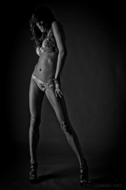 black and white modeling photo girl in bikini