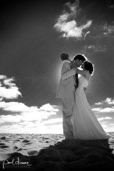 black and white photo wedding mission beach, CA
