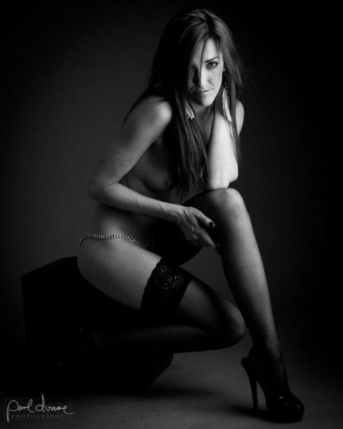 black and white boudoir woman nylon stockings
