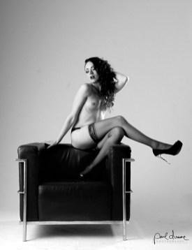 artistic black and white nude boudoir woman stockings