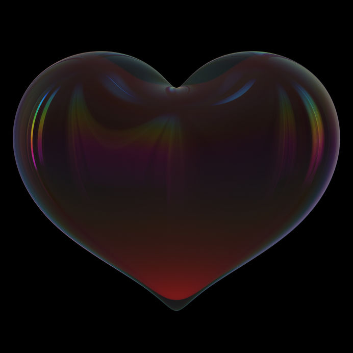 Black heart shape symbol dark poison translucent glossy