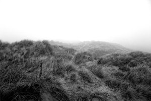 Formby Sand Dunes in Mist Black and White Landscape Photograph Coastal Landscapes Black and White