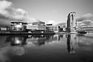 Salford Quays, The Lowry Arts Centre, Black and White Landscape Manchester Landscapes Architecture
