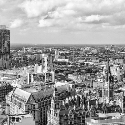 Manchester Black & White Panoramic Skyline Panoramic Landscapes Black and White
