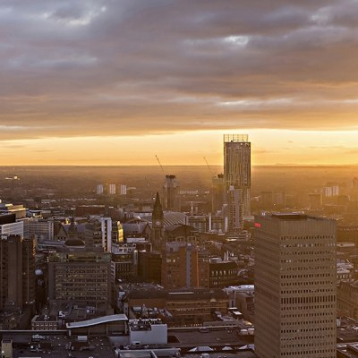 Manchester Sunset Skyline from the CIS Tower Panoramic Landscapes Canvas