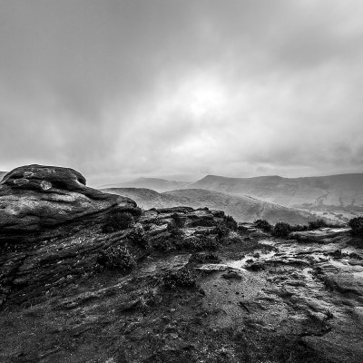 The Ridge From Kinder Scout, Black & White Photography Peak District Landscapes Black and white prints