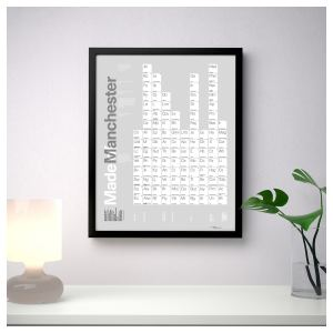 Made of Manchester Periodic Table A3+ Framed Poster Art and Gift Ideas A3