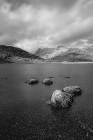 Blea Tarn Langdale Pikes, Portrait Black and white Lake District Landscapes Black and white prints