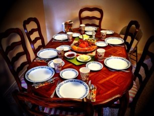 Family Thanksgiving Table is Set