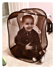 Daniel's new playpen - Lily's clothes hamper