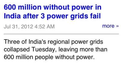 AEP has it easy. 600 Million in India without power