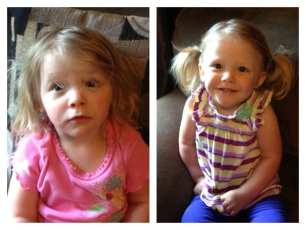 Waking up is hard to do. Lily's before / after hairdo