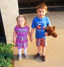 Holding hands. Lily's first day at Bible Center School w/Daniel
