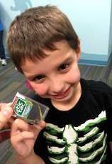 Daniel + Empty TicTac Case + Leaf + Millepede = Big Smile