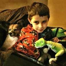 Daniel, dog, dinosaur.