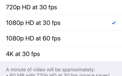 iPhone 6s video quality options