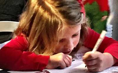 Lily writing her note to Santa… Very focused…