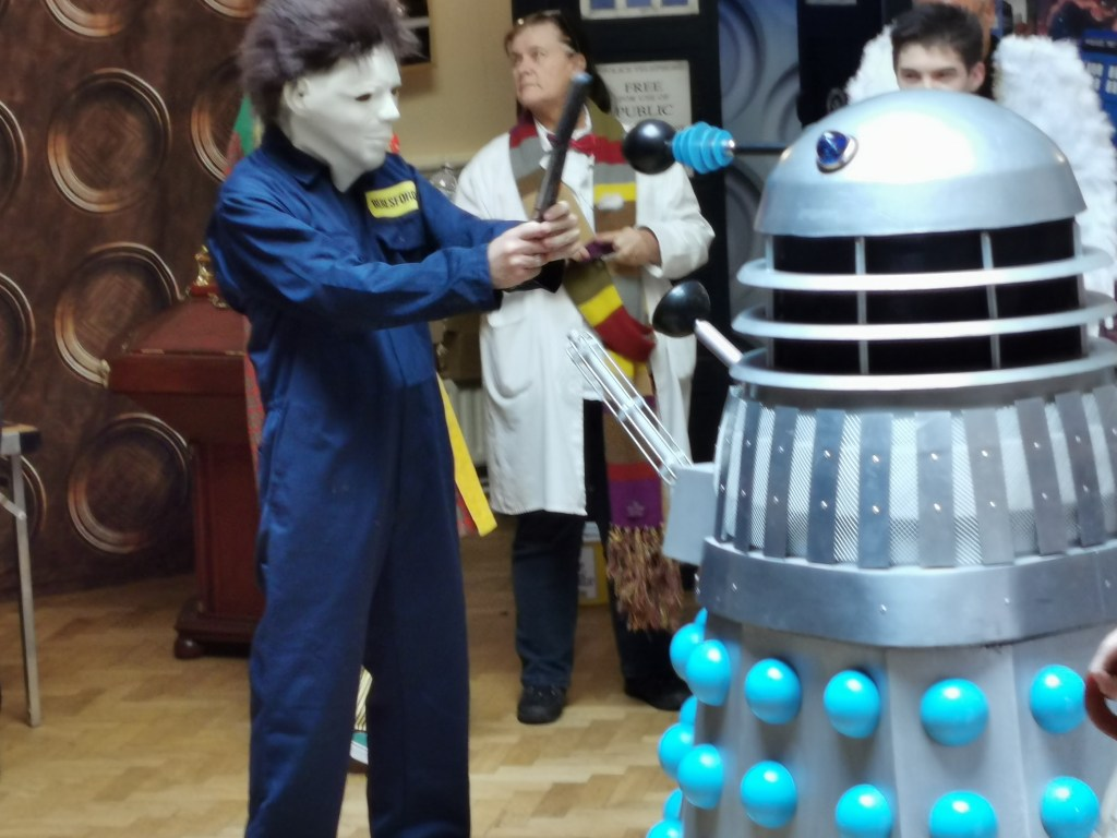 Halloween villain Micheal Myers and a Doctor Who Dalek face off at Sitt9ingbourne Sci-Fi 2019