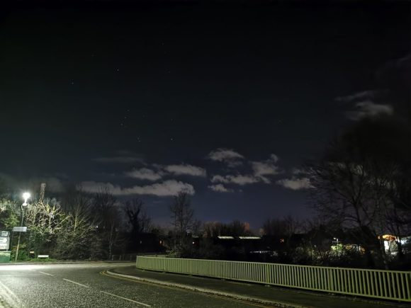 A night time view from a bridge in Snodland, focusing on the Night Sky with Stars visable