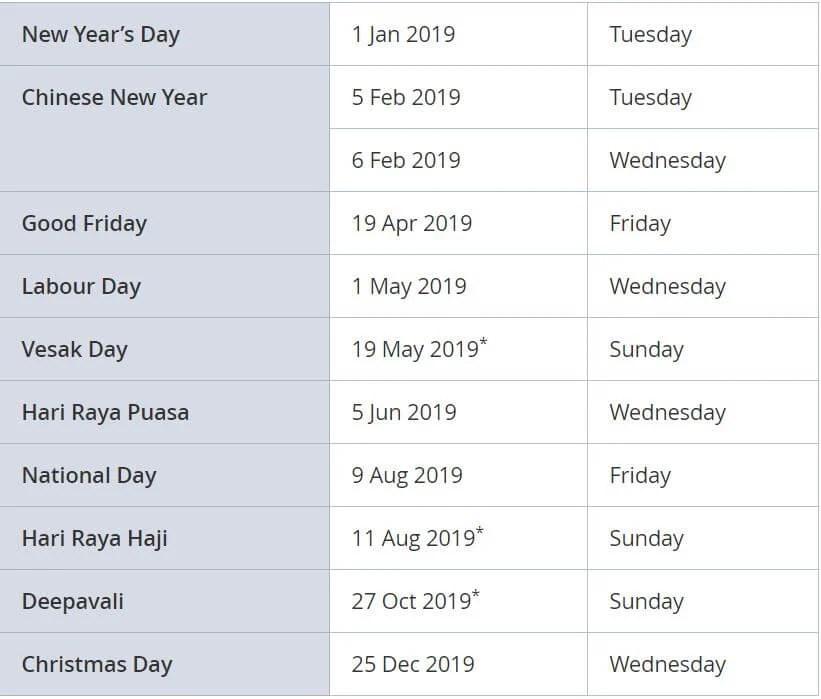 singapore public holidays in 2019