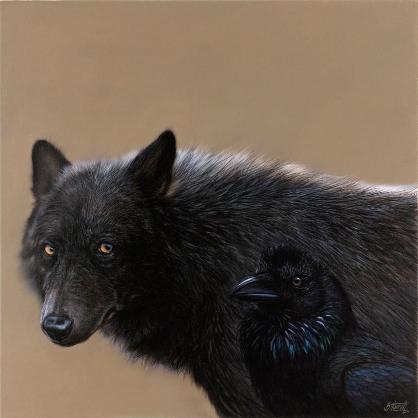 Timberwolf und Kolkrabe