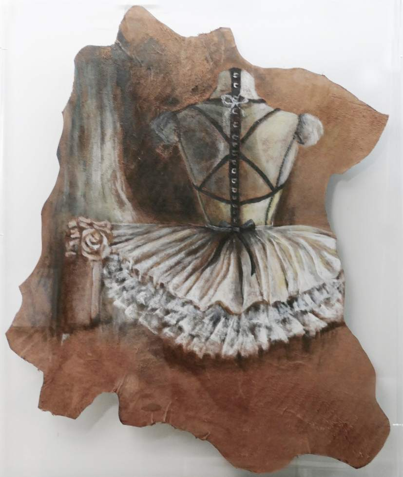 Ballet Dancer - Acrylic paint on cow leather