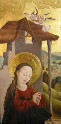 Fragment ołtarza gotyckiego, tempera jajowa i złoto na desce