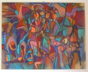 Taniec życia, akryl na płótnie 100x80cm, sprzedany