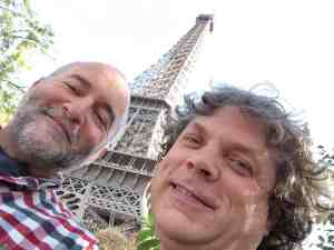 Tim and Paul at the Eiffel Tower