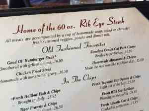 Menu from Tippy Canoe in Troutdale OR