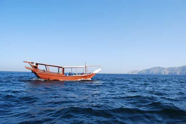 A traditional Arabic dhow at sea