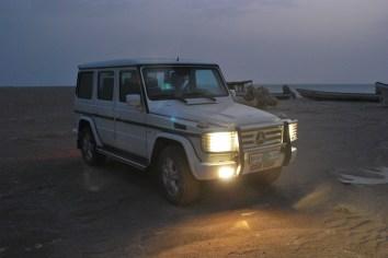 G Wagen at night on Masirah Beach