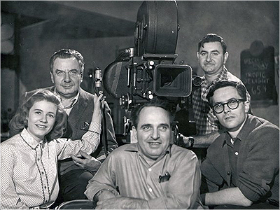 "Leonard Schneider (far right) with ""The Patty Duke Show."" New York, 1965."