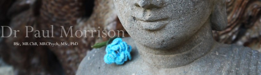 Dr Morrison's picture of a Buddha with a blue flower on shoulder