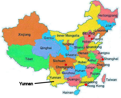 Location of Yunnan in China