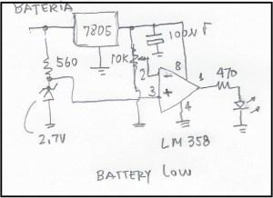 Esquema do circuito de Battery Low