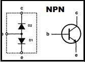 Simução de um transistor NPN com diodos