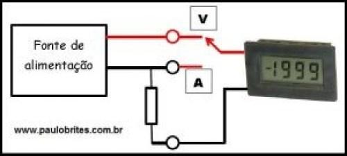 """Medindo tensão e corrente com um """"voltímetro"""" digital"""